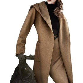 YAXINHE Women Belted Mid-length Autumn Winter Outdoor Classic Pea Coats Camel M