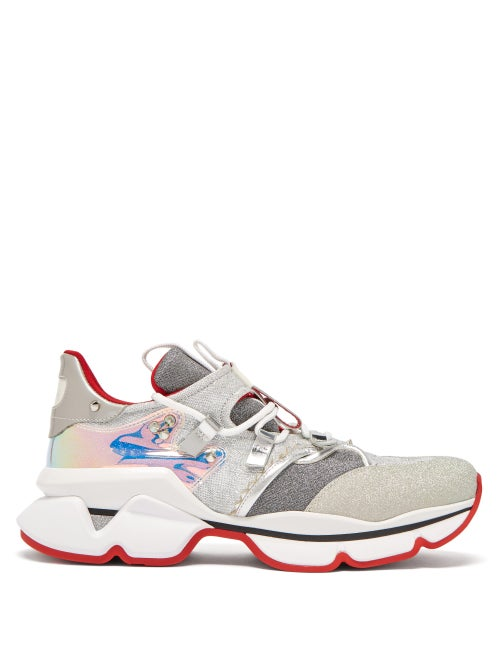 Christian Louboutin - Red Runner Lamé Trainers - Womens - Silver Multi