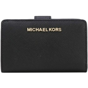[マイケルコース] MICHAEL KORS 財布 二つ折り財布 35F7GTVF2L / 35F7STVF2L アウトレット (ブラック(ロゴ:ゴールド)) [並行輸入品]