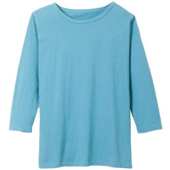 [ハルスマイル]haru smile 胸元安心綿100%7分袖Tシャツ【無地】 2L 6.ナイルブルー