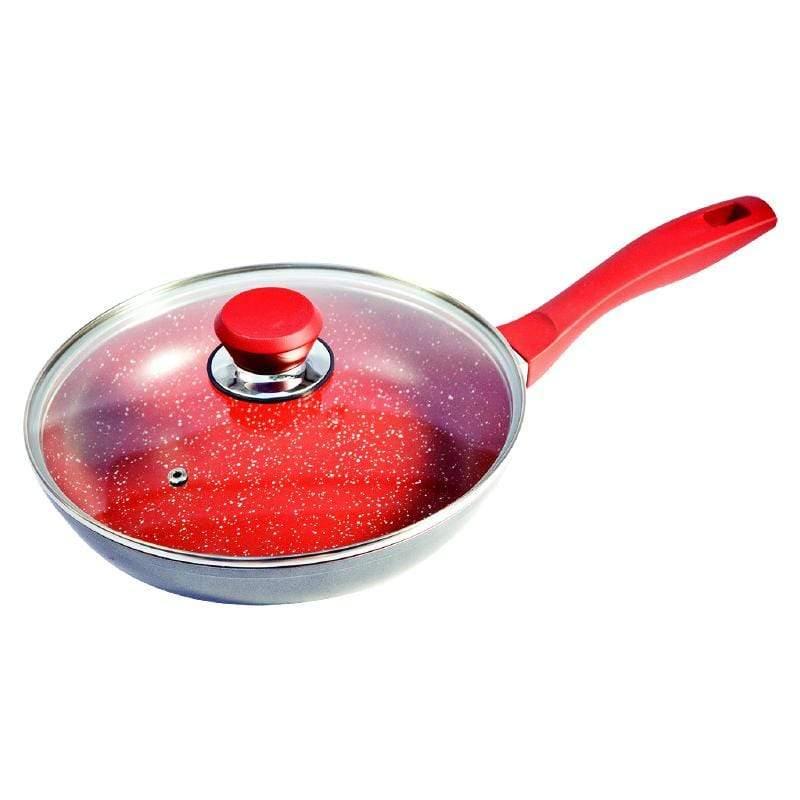 紅寶石超耐磨不沾鍋 - 28cm平底快炒鍋 (含鍋蓋)