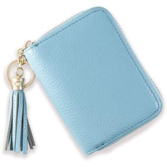 BLUE SINCERE カードケース レディース じゃばら 大容量 本革 コンパクト カード入れ 最大18枚収納 タッセル付き CDC4 (スカイブルー)