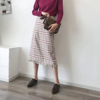 スカート Aラインスカート レディース ボトムス ひざ丈 ミモレ丈 タイトスカート タータンチェック柄 フリンジ 大きいサイズ 可愛い