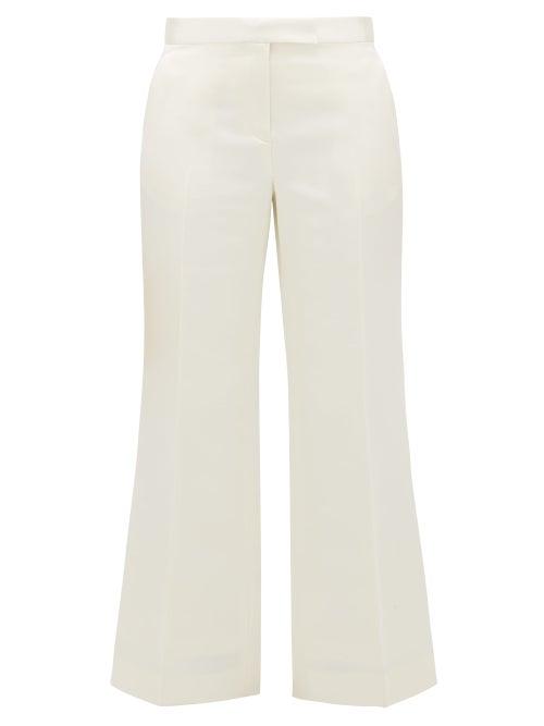 Marina Moscone - Tailored Wool-blend Duchess-satin Trousers - Womens - Ivory