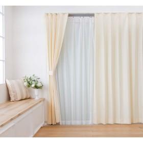 遮光裏地付ドットストライプカーテン&レースカーテン4枚セット (幅100×丈150cm(各2枚), アイボリー)