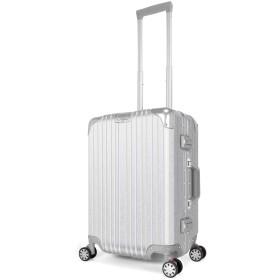 スーツケース キャリーケース キャリーバッグ アルミフレーム 軽量 静音 TSAロック搭載 日本語取扱説明書 1年安心保証 iDeer Life (シルバー, S)