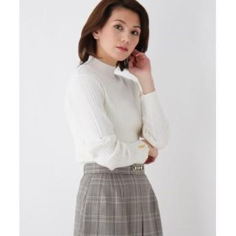 index / インデックス 【her style.掲載】【洗える】ワイドリブボタンハイネックニット
