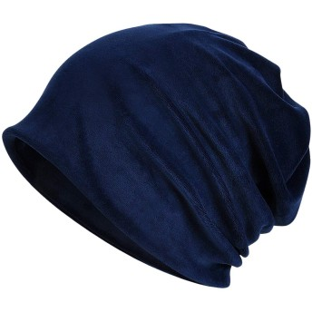 KISSTYLE ニット帽子 メンズ レディース 冬用 ワッチ 防寒 ビーニー ベルベットタッチ(ネイビー)