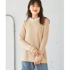 ワッフル素材の衿フリルトップス (大きいサイズレディース)plus size T-shirts, T恤