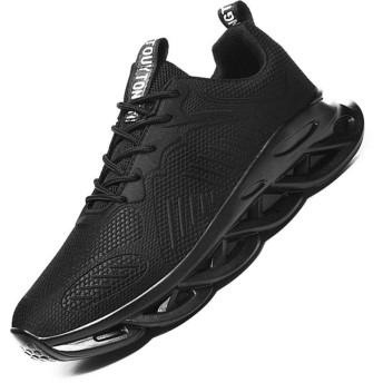 [ROVIS] メンズポーツスニーカー レースアップランニングシューズ メンズアウトドア靴 通勤 通学 ウォーキングシューズ カジュアルシューズ トレーニングシューズ 軽量 通気 サイズ270ブラック