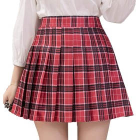 [ミニマリ] プリーツ スカート ミニ 赤 チェック セクシー ミニスカ スクールスカート チェック柄スカート レッド Lサイズ