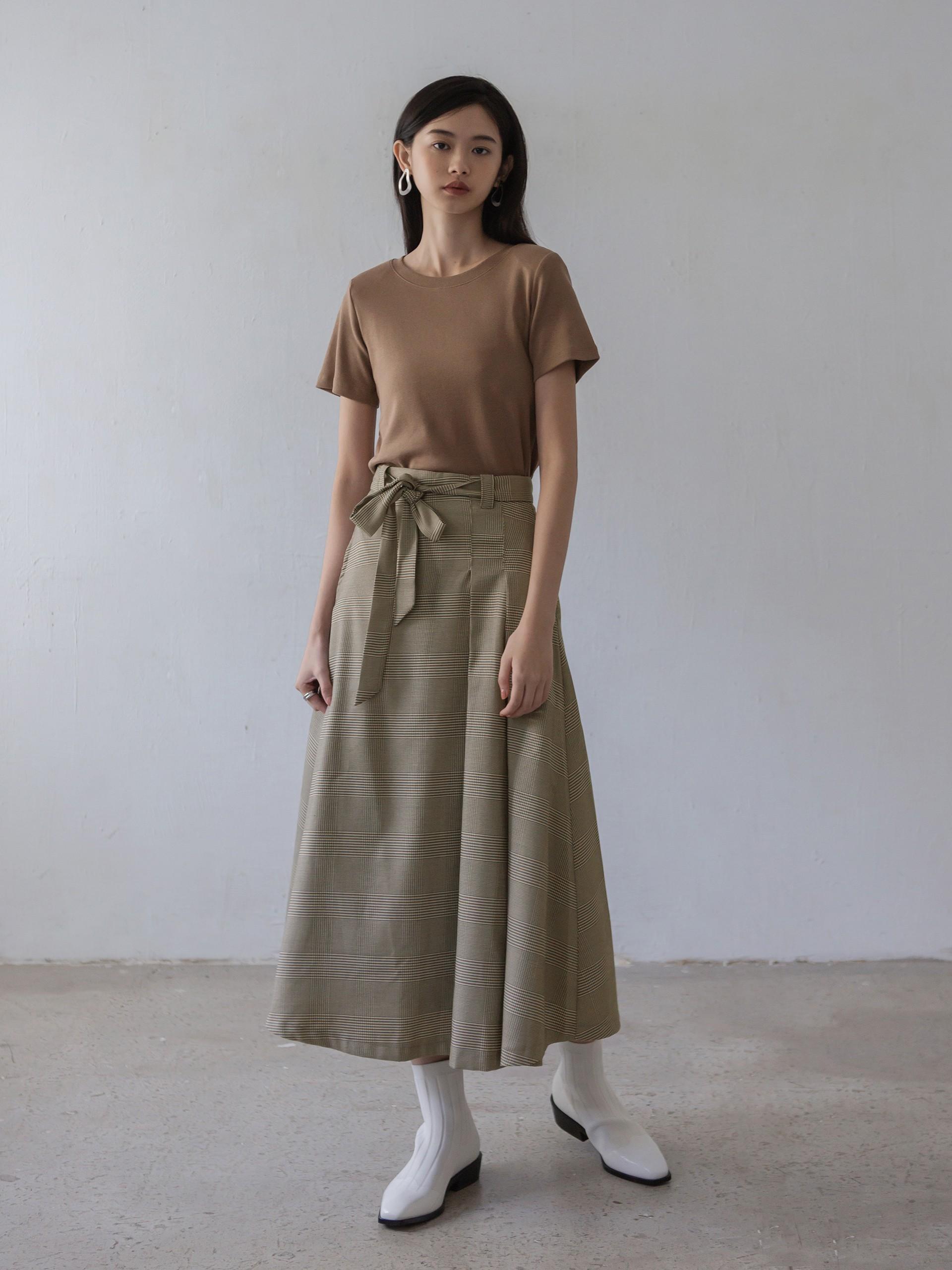 傘狀格紋垂墜質感裙-mouggan