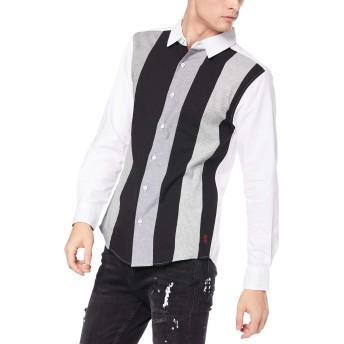[ジョルダーノ] 縦切替オックスシャツ L ホワイトその他