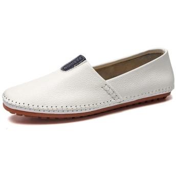 シューズ ファッション 男性のためのドライビングローファー革の靴スリップオン ビーガン居心地の良い通気性の簡単にオンとオフロートップウォーキングパーティーラウンドトゥシューズ 快適 (Color : 白, サイズ : 24 CM)