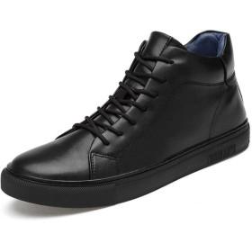シューズ ファッション スケート靴メンズコンフォートスニーカーレースアップ滑り止め足首アスレチックシューズレザーアッパー並ぶ耐久性のあるウォーキングシューズ 快適 (Color : ブラック, サイズ : 24 CM)
