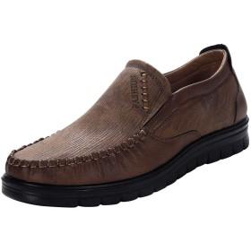 [LHWY] ビジネスシューズ 革靴 メンズ 無地 フラットシューズ スリップオン ラウンドトゥ 令和新品