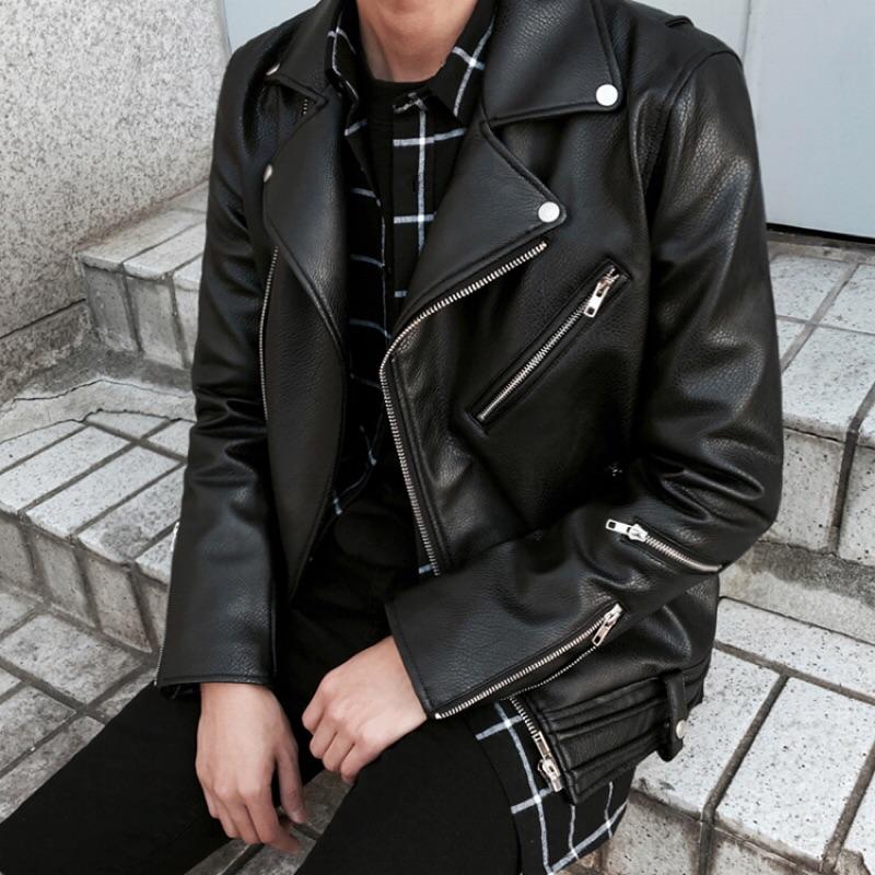 皮衣 韓系騎士側開拉鍊厚磅皮革夾克 外套 現貨+預購 【TJW8278】GD款