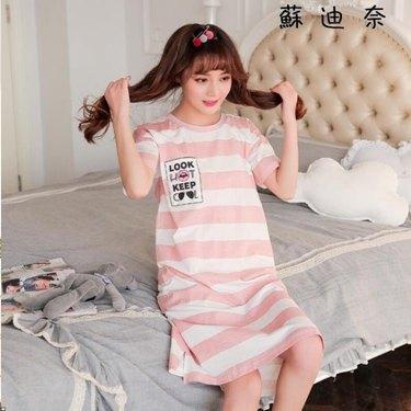 棉質睡衣 家居服睡衣女夏短袖純棉大碼睡裙 全館八八折