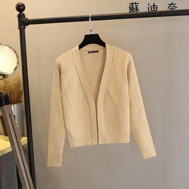 針織外套女 v領短款修身針織外衫小外套 喜迎新春