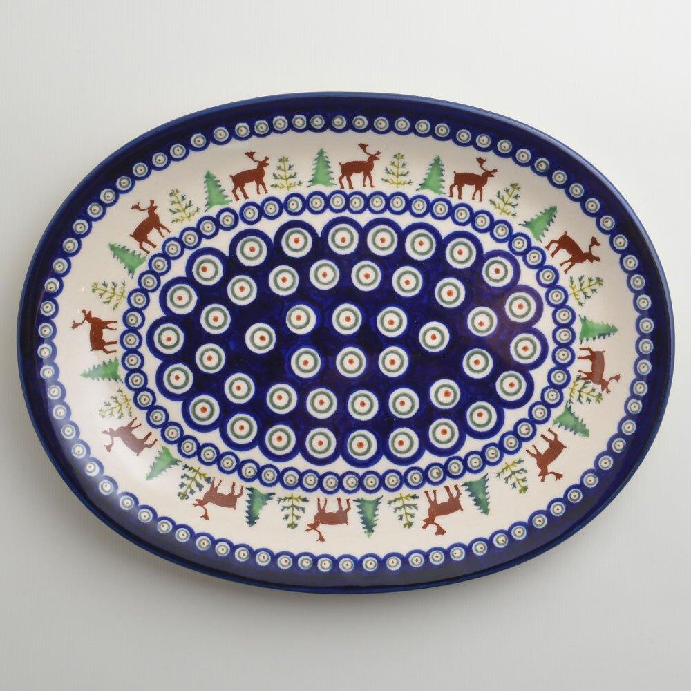波蘭陶 歡樂聖誕系列 橢圓形餐盤 陶瓷盤 菜盤 水果盤 沙拉盤 29cm 波蘭手工製