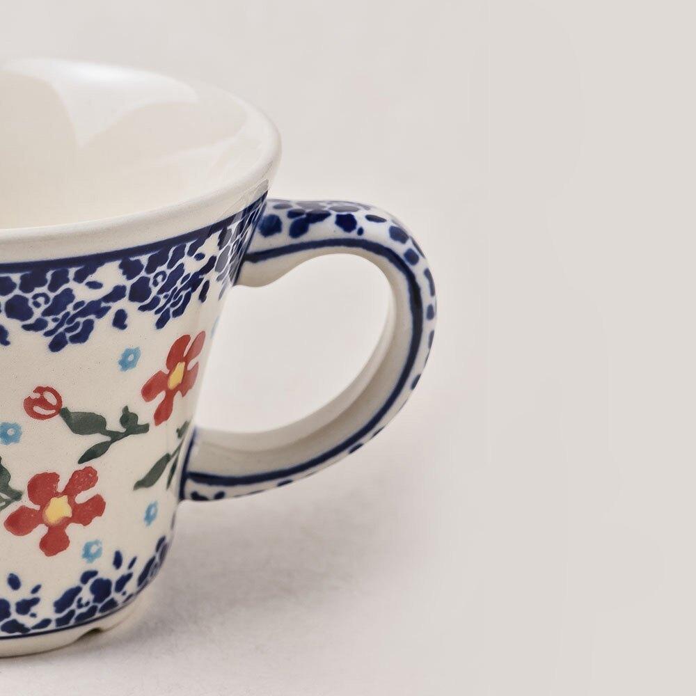 波蘭陶 藍印紅花系列 寬口茶杯 馬克杯 咖啡杯 水杯 240 ml 波蘭手工製