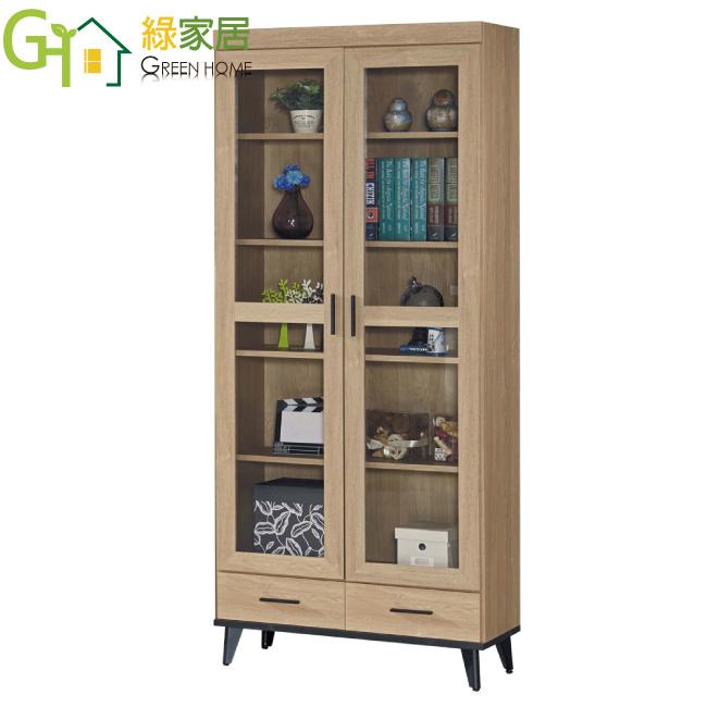 【綠家居】卡多隆 時尚2.7尺二門二抽書櫃/收納櫃(二色可選)