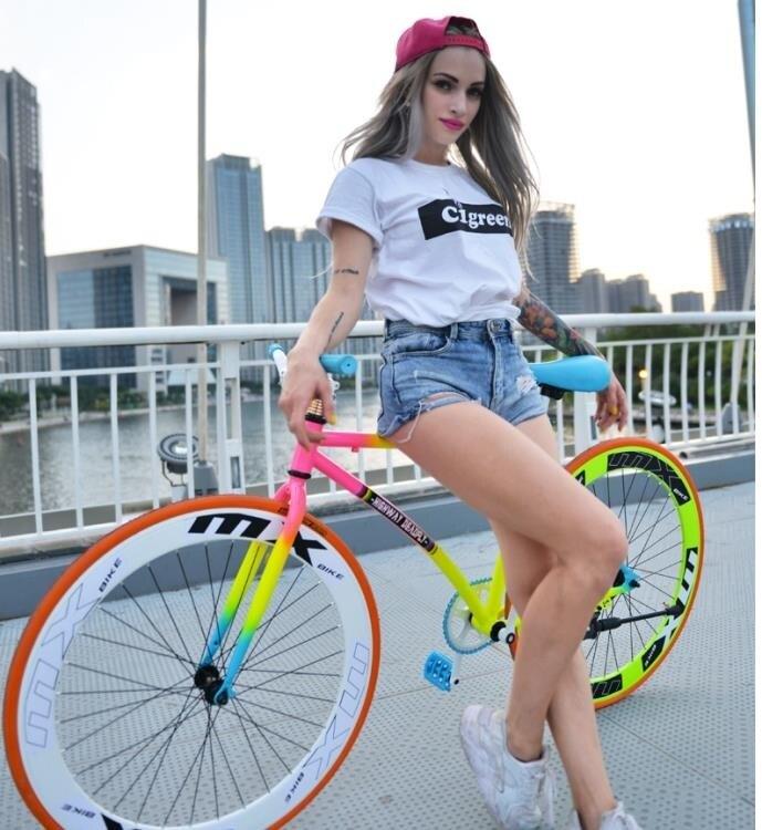 公路自由車自行車單車公路賽倒剎車實心胎熒光24/26寸成人男女學生