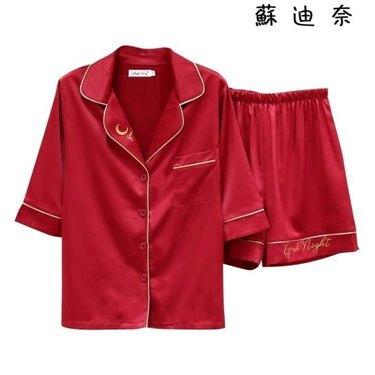 情侶睡衣 情侶睡衣女夏季絲綢套裝短袖褲家居服 全館八八折