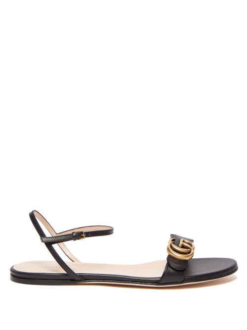 Gucci - GG Marmont Leather Sandals - Womens - Black