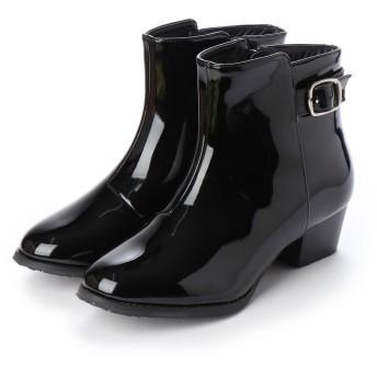 マシュガール masyugirl 【3E/幅広ゆったり・大きいサイズの靴】 ベルト使いレインブーツ (ブラックエナメル) SOROTTO