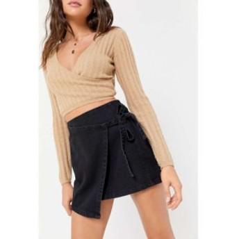 ビーディージー BDG レディース ミニスカート デニム ラップスカート スカート black denim mini wrap skirt Black