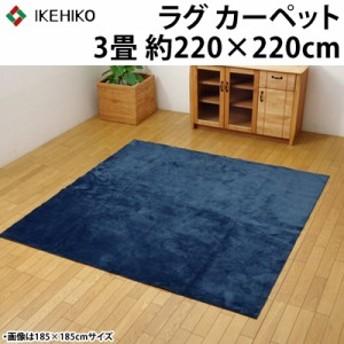 【送料無料】イケヒコ ラグカーペット 3畳 洗える 『イーズ』 ネイビー 約220×220cm 裏:すべりにくい加工 ホットカーペット対応 3963639