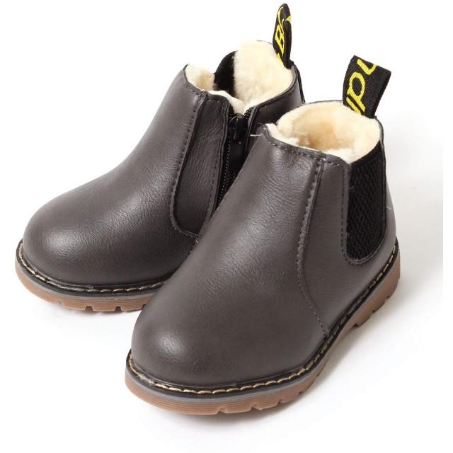 [ジェイ・オー・ケーネット] キッズ ブーツ 男の子 女の子 ショートブーツ 裏ボア 防寒 フェイクレザー 防水 滑り止め 子供 靴 サイドゴア ブーツ グレー 22(内寸13cm)