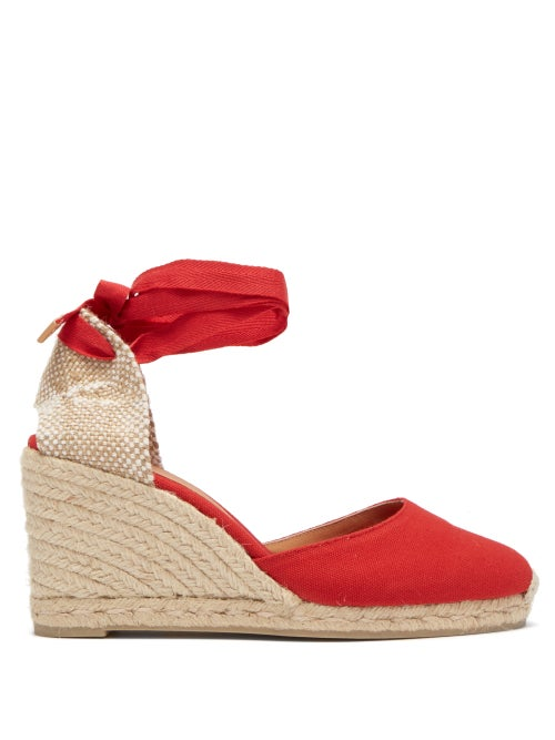 Castañer - Carina 80 Canvas & Jute Espadrille Wedges - Womens - Red