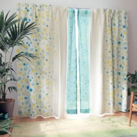水彩タッチプリントの遮光・遮熱カーテン