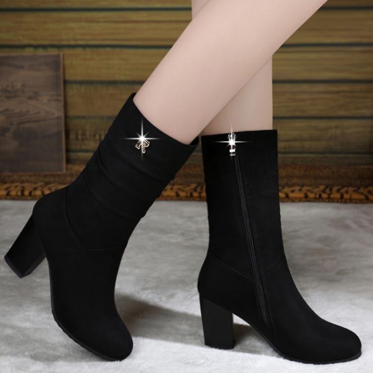 中筒靴 冬季新款短靴高跟中筒靴百搭粗跟馬丁靴