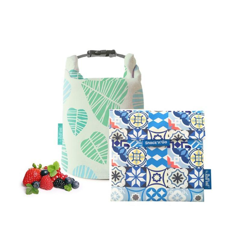 桶裝食物袋(葉紋拓印)*1+吃貨零食袋M(10色任選)*1 桶裝食物袋-葉紋拓印+吃貨零食袋-幾何綠