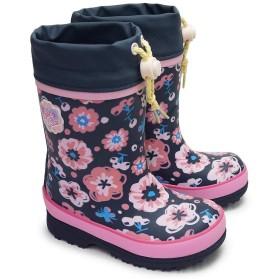 [ムーンスター] 子供長靴 WC017R レインシューズ 防寒 ゴム長 雪国寒冷地仕様 女の子用 花柄 ネイビー 19.0cm