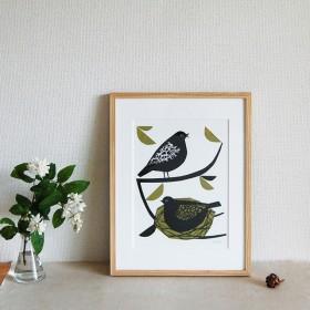 シルクプリント「とり」フレーム付き(大) ◯とり ◯鳥 ◯インテリア ◯北欧