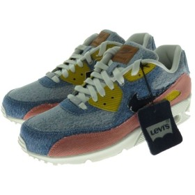 NIKE Levi's By You AIR MAX 90 スニーカー 708279-988 インディゴ×イエロー×ピンク サイズ:28cm (フレス