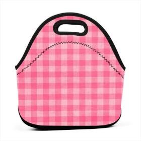 ピンクテクスチャランチバッグ、厚手の断熱ランチボックスバッグ、子供旅行ピクニックオフィス用ジッパー閉鎖付きトートボックス
