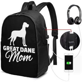 グレートデーンママ ユニセックス、男性女性 17インチラップトップコンピューターバックパックトラベルデイパック(USB充電ポート付き)カレッジスクールバックパックビジネスラージスクールバッグ