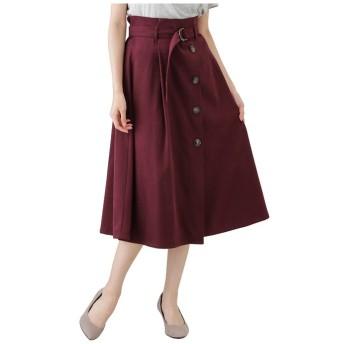 マックハウス Navy ネイビー サンディング前ボタンベルト付きスカート GL 1239851 レディース レッド M 【MAC HOUSE】