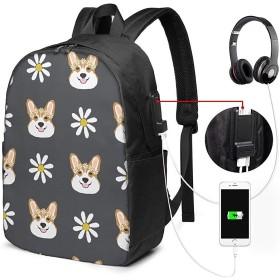 コーギーフローラルフラワーデイジー ユニセックス、男性女性 17インチラップトップコンピューターバックパックトラベルデイパック(USB充電ポート付き)カレッジスクールバックパックビジネスラージスクールバッグ