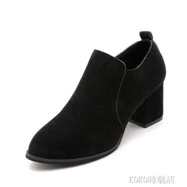 秋冬新款歐美時尚尖頭女式裸靴舒適絨面中跟粗跟簡約側拉練款 koko時裝店 全館八八折