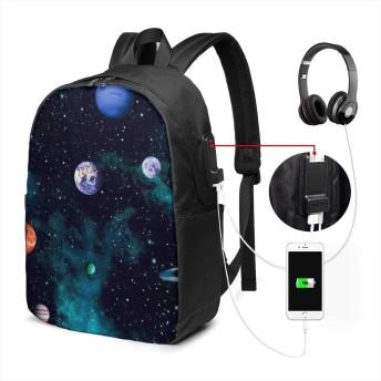 宇宙惑星地球 ユニセックス、男性女性 17インチラップトップコンピューターバックパックトラベルデイパック(USB充電ポート付き)カレッジスクールバックパックビジネスラージスクールバッグ
