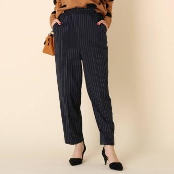 クチュール ブローチ Couture brooch 【WEB限定プライス/WEB限定サイズ(LL)あり/手洗い可】サキソニーギャザーパンツ (ネイビーストライプ)