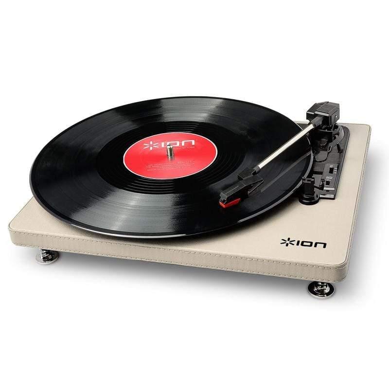 Compact LP摩登皮革黑膠唱機 - 奶油白