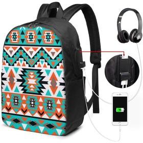 カラフルなナバホ族 ユニセックス、男性女性 17インチラップトップコンピューターバックパックトラベルデイパック(USB充電ポート付き)カレッジスクールバックパックビジネスラージスクールバッグ