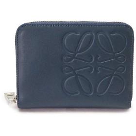 [ロエベ] LOEWE カードケース コインケース メンズ 財布 小銭入れ ラウンドファスナー アナグラム レザー スチールブルー BRAND 6 CARD ZIP WALLET STEEL BLUE 106.54AV32 6490 [並行輸入品]